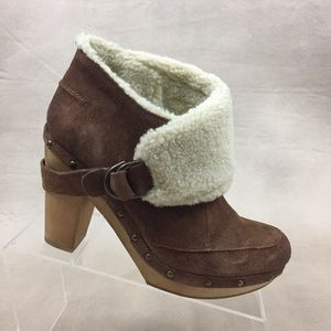 Nine West Kybele Clog Bootie Suede Shearling Boot
